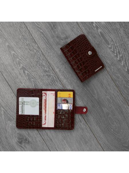 """Обложка для паспорта """"Кайман"""" бордовый"""