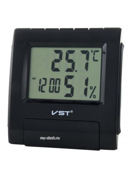 VST 7090S Черные часы эл.(темп., влажность)