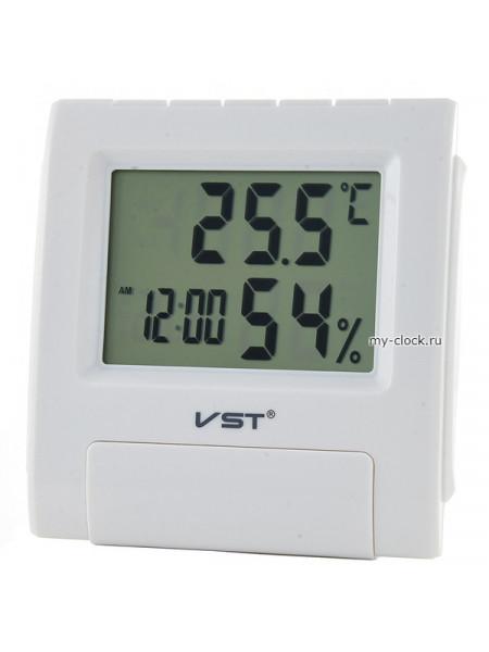 VST 7090S Белые часы эл.(темп., влажность)