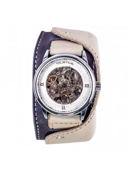 Часы скелетоны механические Fresh Air на широком ремешке