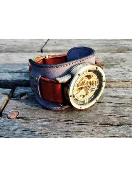 Часы скелетоны механические Argonaut на широком ремешке
