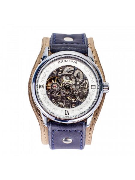 Часы скелетоны механические Fairy Tale на широком ремешке