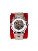 Часы скелетоны механические Strawberry на широком ремешке