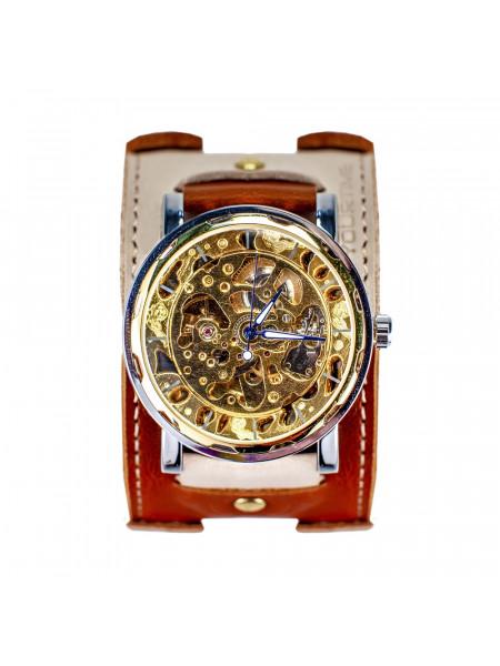 Часы скелетоны механические Cappuccino 2.0 на широком ремешке