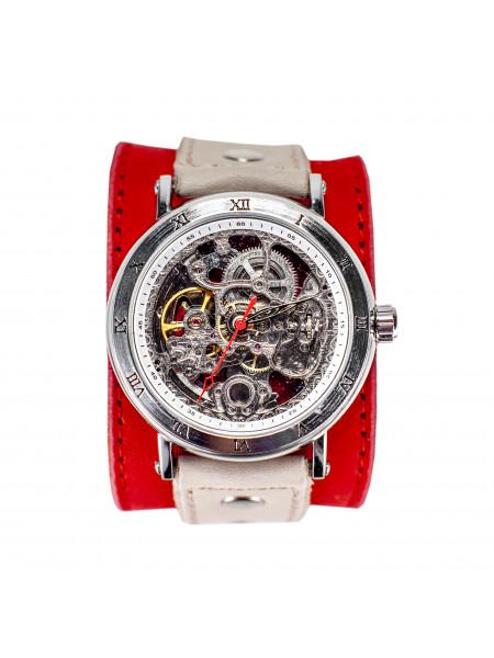 Часы скелетоны механические Cherry на широком ремешке