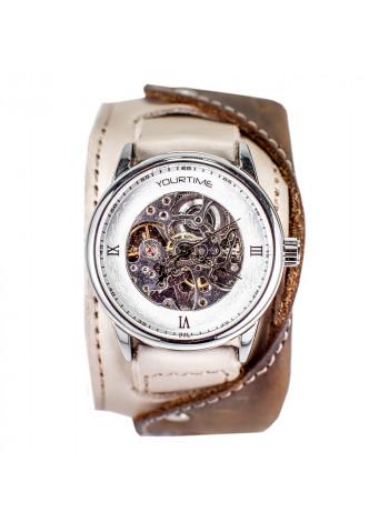 Часы скелетоны механические Sand 2.0 на широком ремешке