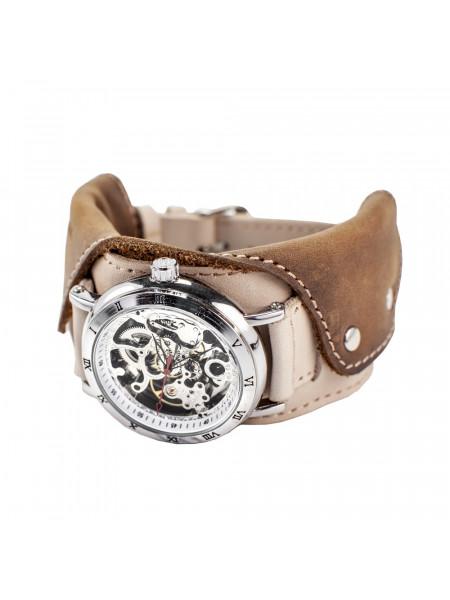 Часы скелетоны механические Cowboy 2.0 на широком ремешке