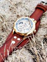 Часы скелетоны механические Centuria на широком ремешке