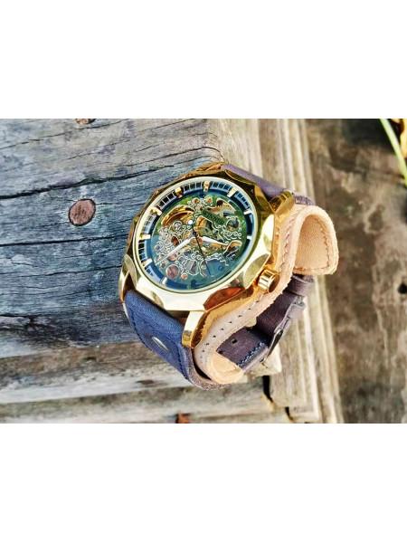 Часы скелетоны механические Elegant на широком ремешке